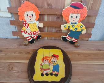 Vintage Raggedy Ann And Andy Coat Rack And Wall Plaque