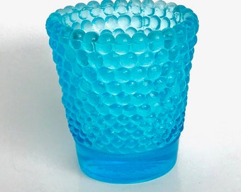 Vintage Hobnail Light Blue Glass Tea Light Candle Votive Cup Holder 2.5""