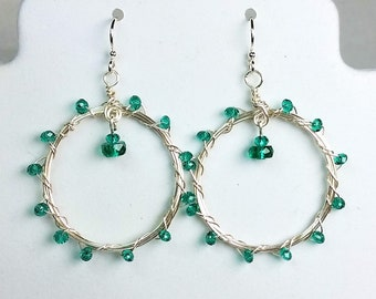 Teal Green Hoop Earrings - Wire Wrapped and Woven Earrings - Green Crystals on Hoop Earrings