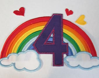 Rainbow  Birthday Set - Iron On or Sew On Embroidered Applique Patches