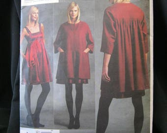 Vogue 1074, size 6 - 12 or 14 - 22, DKNY, Donna Karan New York, Vogue American Designer, flared, gathered coat, soft pleated dress, straps