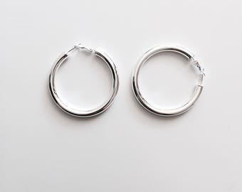 Thick large hoop earrings