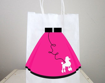 50's Party Goody Bags, 50's Party Favor Bags, 50's Party Favor, Poodle Skirt Goody Bags, Fifties Party Favors