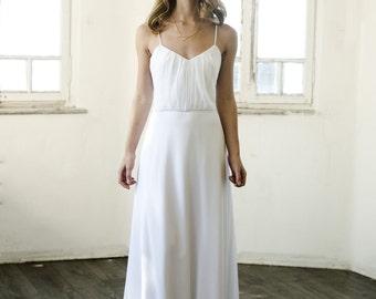 Simple Wedding Dress, Simple Ivory Beach Wedding Dress, Simple Backless Ivory Wedding Dress, Custom size 4-6-8-10