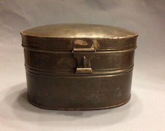 Antique Oval Tin Lunch Pail/ Hinged Tin Container