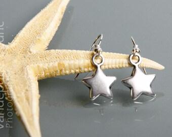 Silver metal star earrings