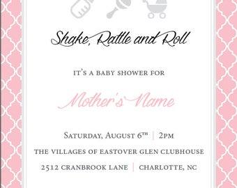 Shake Rattle & Roll Baby Invitation
