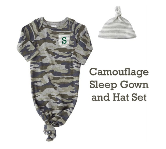 Camo Sleep Gown with Hat Set for Newborns