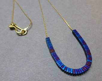 Titanium Hematite Necklace. Gold Plated Chain. Beaded Necklace. Glossy. Cobalt Blue. 3mm. Courage Necklace. Handmade Necklace.