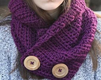 Crochet Pattern - Crochet Button Scarf Pattern - Crochet Pattern Button Cowl - Crochet Patterns for Women - Includes 3 Sizes - PDF 394
