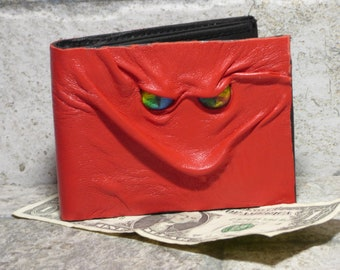 Leather Wallet Monster Face Fantasy Magic The Gathering Horror World Of Warcraft  Fathers Day Gift Red Black 557