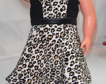 """Cheetah & Lace sleeveless dress w/ black midriff and invisible Back Zipper 18"""" Doll Clothes"""