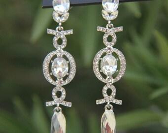 clear rhinestone earrings, bridal rhinestone earrings, prom earrings, pageant earrings