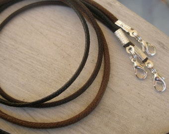 """6 pcs Waxed Cotton Cord Necklaces Black Brown Red Green Blue Lavender 14"""" 16"""" 17"""" 18"""" 19"""" 20"""" 22"""" 24"""" 26"""" 28"""" Handmade in USA"""