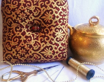 Elegant Box Pincushion, Scarlet and Gold Pincushion,Square Pincushion,Elegant Pincushion,Pincushion Pillow,Pincushion with Glass Beads