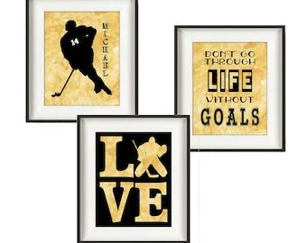 Hockey Gifts - Hockey Wall Art - Sports Decor - Girls Hockey - Hockey Art - Hockey Goalie - Boys Room Decor - Watercolor - Set of 3
