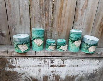Yacht Salt Scented Round Pillar Candles