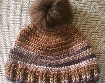 Pom Pom Adult Hat, Striped Hat, Boutique hat, Ski Hat, Winter Hat, Faux Fur PomPom, Adult Winter Hat, Multi Colored Hat, Adult Hat, pompom