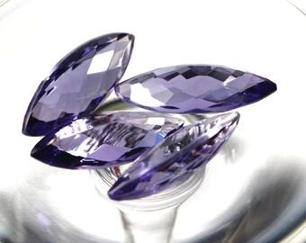 Lot of 4 Pcs, 30x12 mm, Marquise Shape, Faceted Briolet, Amethyst Color Quartz, Purple Color, Checkerboard Loose Gemstone, 30x12, 30x12mm