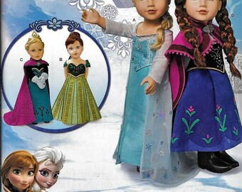 """Simplicity S0747 18"""" Doll Clothes Frozen Anna Elsa Costume Sewing Pattern 1217 UNCUT"""