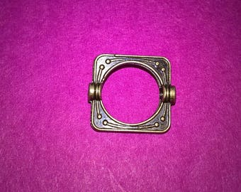 12 CONNECTORS FRAME SQUARE METAL BEADS BRONZE