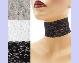 Extra Wide Stretch Lace Choker 2 - 2.25 inches Black White or Gray Custom made Your Length and Color shade (approximate width 50 - 60 mm)