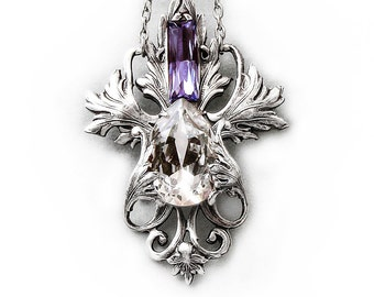 Victorian necklace Purple Teardrop Necklace Drop Necklace Pendant Swarovski Crystal Necklace Silver Jewelry