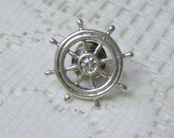 Nautical SHIPS WHEEL Lapel Pin - Tie Tack - Steampunk - Silver - Tie Tac