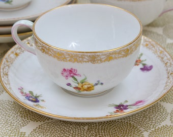 KPM Royal Berlin Tea Cup Set, Set of 4 Tea Cups & Saucers, Hand Painted Floral, Collectible Teacups, Late 1800s, Vintage Tea Party