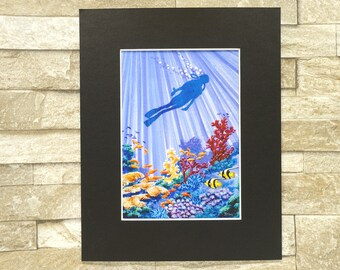 "Marine Artwork Print, Scuba Diver, Deep Sea Diver, Print of Watercolour Painting, 8"" x 10"", Black or White Mount"