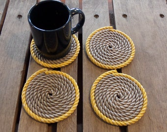 SET OF 4 Rope Coasters Grey and Yellow Nautical Beach Coastal Rustic Decor