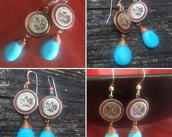 Thunderbird Sky Earrings, Magnesite, Copper and Silver, ThePurpleLilyDesigns