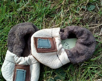 Baby Booties in leather, baby shoes newborn