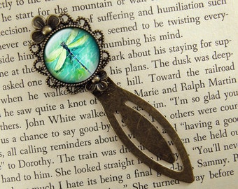 Dragonfly Bookmark, Teal, Blue Green, Bronze Bookmark, Book Lover, Book Accessories, Clip Bookmark, Book Gift, Small Gift