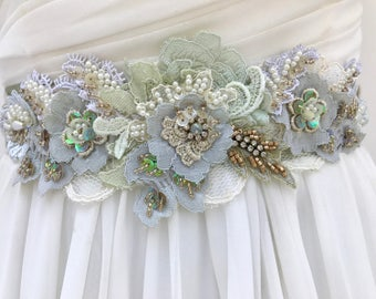 Beaded Lace Bridal Sash, Wedding Sash In Ivory, Sage And Moss With Crystals And Pearls, Wedding Dress Sash, Flower Sash, Garden, Rustic