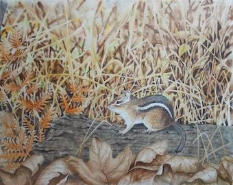 vintage watercolor of chipmunk on log signed