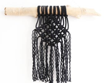 Black macrame Decoration Bohemian spirit wall