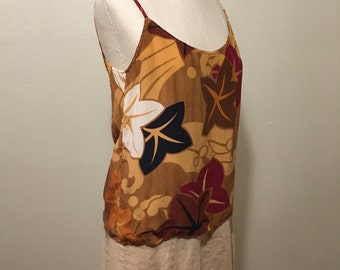 vintage 80s saks fifth avenue the anne klein corner spaghetti strap tropical chic camisole blouse made in usa