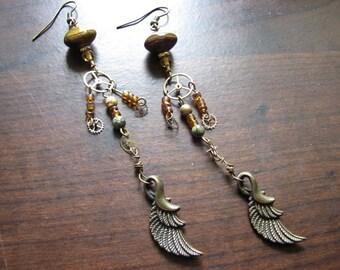 Wing earrings | long dangle | steampunk | boho chic | rustic chandelier | women