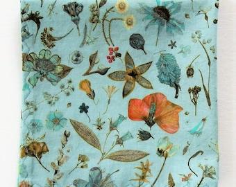 "Liberty of London Handkerchief, Robin's Egg Blue, Mother's Day Hanky, Gifts For Women, 10"" Flower Garden Handkerchief, Weddings, Cotton Lawn"