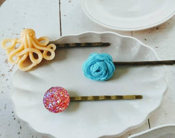 Hair Pins  Bobbie Pins Octopus/Flower/Sparkle Set Of 3