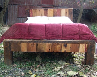 Colorful Reclaimed Wood Bed Frame