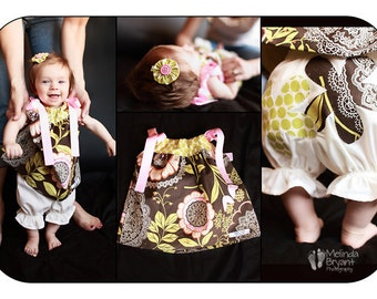 Baby Girl Pillowcase Dress Bloomers Hair Clip Set Amy Butler Lotus Lacework