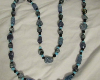 "Necklace, Shades of Blue, Glass Trade Beads, 46"" Long, 1980's"