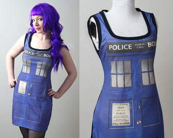 DOCTOR WHO Tardis police box tank dress CUSTOM smarmyclothes cosplay costume