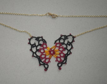 Tatted Butterfly Necklace, black and garnet, tatting jewelry, teacher gift, lace jewelry, handmade lace, tatted lace