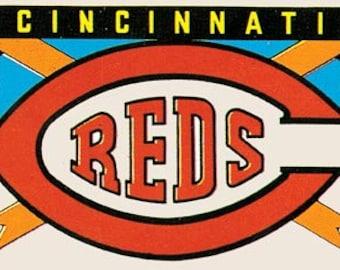 Vintage Style  Cincinnati Reds  Baseball MLB   1960's   Travel Decal sticker