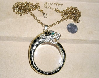 Vintage Rhinestone And Enamel Panther Big Cat Necklace With Magnifier Leopard. Showy Classic 1970's Jewelry 2264
