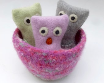Three little owls in a basket set Waldorf inspired ready to ship