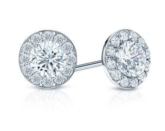 14k Gold Halo Round Diamond Stud Earrings 0.75 ct. tw. (G-H, SI2)